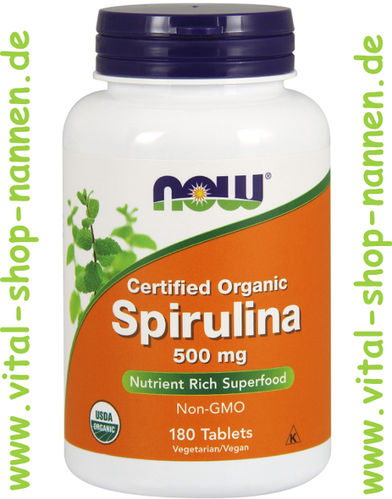 Spirulina 500 mg, Certified Organic, 180 Tabletten